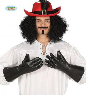 Zwarte Leder Look Handschoenen Piraat
