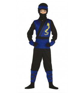 Blauwe Shogun Ninja Jongen Kostuum