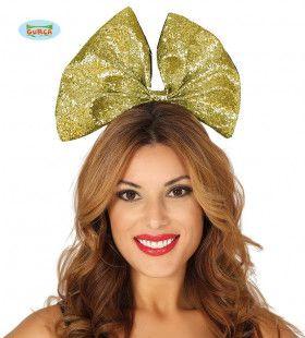 Gouden Glitter Haarstrik Vegas