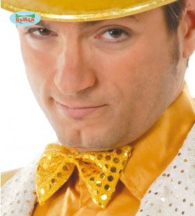 Vlinderstrik Musical Glitter Geel