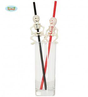 4 Skelet Rietjes Halloween Maakt Dorstig