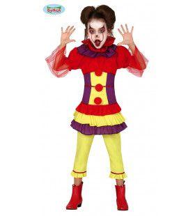 Vrolijke Knalkleuren Clown Circus Barnum Meisje Kostuum