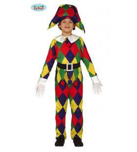 Geruite Harlekijn Vrolijke Kleuren Kind Kostuum