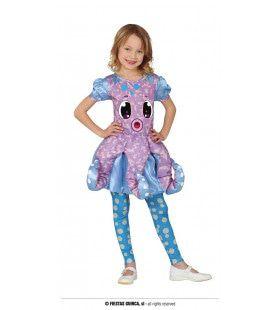 Paars Blauwe Octopus Achtpoot Meisje Kostuum