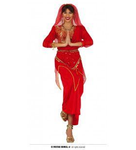Rode Bruid Uit India Vrouw Kostuum