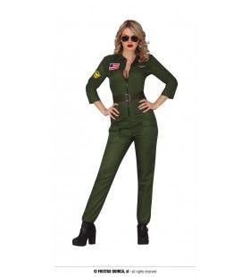 Top Gun Sexy Piloot Groene Jumpsuit Vrouw Kostuum