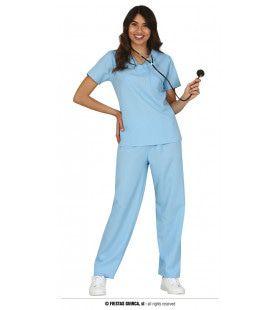 Blauwe Chirurg Verpleegster Vrouw Kostuum