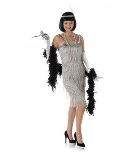 Stralend Zilveren Flapper Boston Vrouw Kostuum