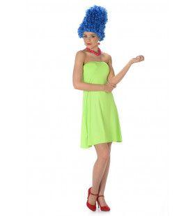 Marge Blauw Haar Simpson Vrouw Kostuum