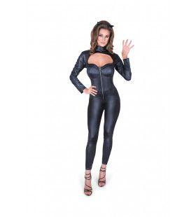Zwarte Soepele Kat Catsuit Vrouw Kostuum