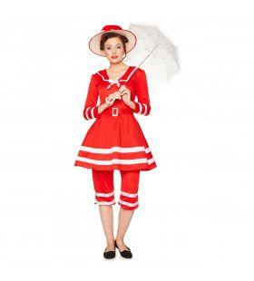 Ouderwets Strand Badpak Jaren 20 Vrouw Kostuum
