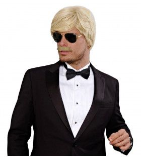 Pruik Playboy Met Snor Blond