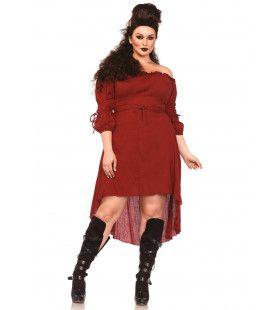 Sexy Historische Boerin Jurk Rood (Plus Size) Vrouw