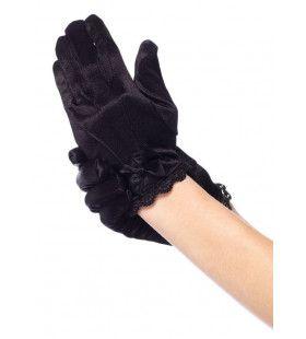 Meisjes Satijnen Handschoenen Zwart