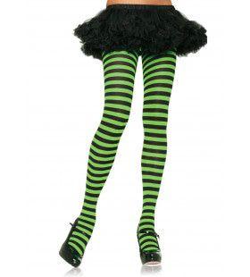 Nylon Gestreepte Panty Neon Groen-Zwart
