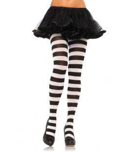 Breed Gestreepte Panty Wit-Zwart