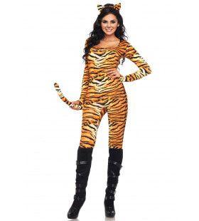 Sexy Tijger Catsuit Met Staart Vrouw Kostuum