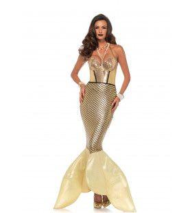 Gouden Zeemeermin Vrouw Kostuum