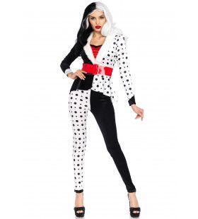 Crazy Cruella Schurk Vrouw Kostuum