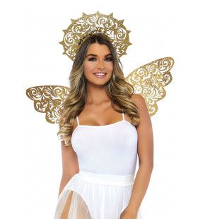 Hemelse Engel Set Gouden Vleugels En Stralenkrans