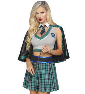 Sinistere Zweinstein Tovenaar Slytherin Vrouw Kostuum