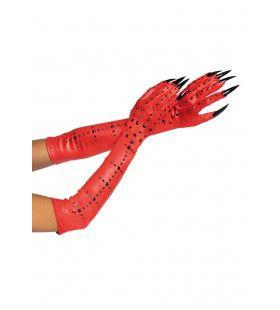 Duivelse Rode Klauw Handschoenen Met Zwarte Strass