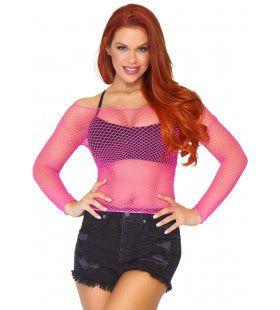 Visnet Shirt Popster Roze Vrouw