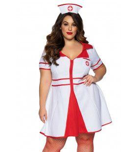 Verbluffende Verleidelijke Verpleegster Plus Size Vrouw Kostuum