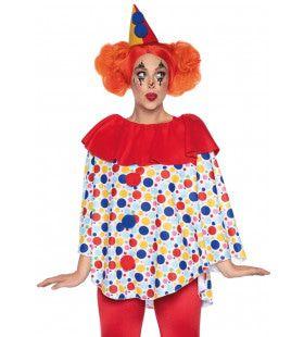 Vrolijke Stippen En Bellen Clown Vrouw Kostuum