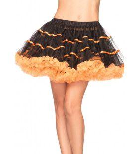 Gelaagde Tulle Petticoat Met Satijnen Band Zwart-Oranje