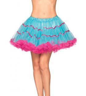 Gelaagde Tule Petticoat Met Satijnen Band Blauw-Roze