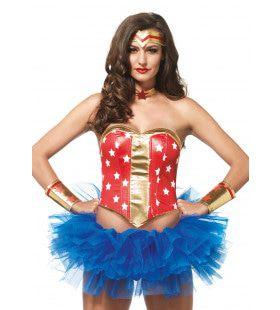 4delige Amerikaanse Superheldin Set Rood-Goud Vrouw Kostuum