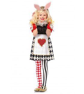 Meisjes Harten En Harlekino Wonderland Konijntjes Jurk