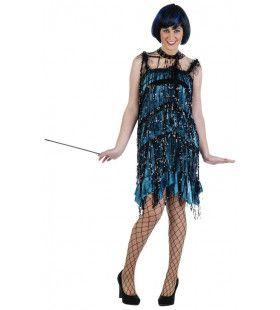 Chelsea Charming Charleston Blauw      Vrouw Kostuum