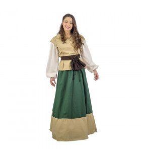 Beige Groen Middeleeuwse Dame Klaartje Van Nimwegen Vrouw Kostuum
