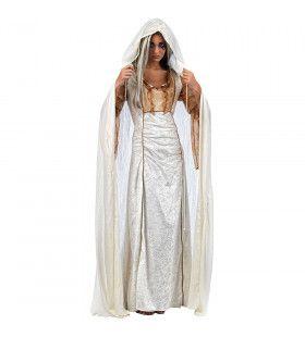 Witte Cape Onschuldige Gotische Maagd Vrouw