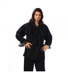 Zwart Overhemd Met Kant Piraat Met Stijl Man