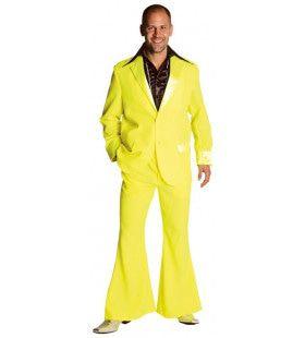 Fluor Geel Saturday Night Boogie Night Man Kostuum