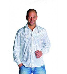 Glimmende Disco Gozer Pailletten Hemd Wit Man