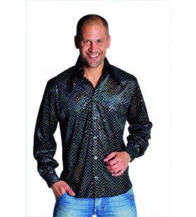 Glimmende Disco Gozer Pailletten Hemd Zwart Man