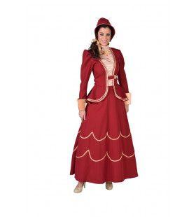 Dickens Dame Engeland Bordeaux Vrouw Kostuum