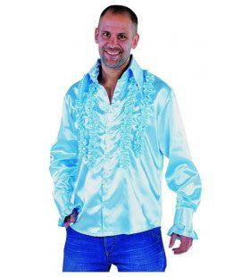 Getailleerde Ruches Blouse Stiekem Dansen Lichtblauw Man