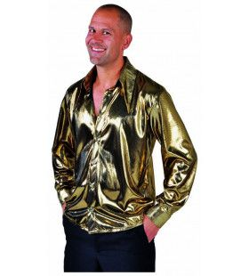 Gouden Glitter Folie Blouse Man