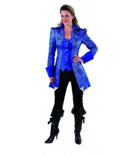 Met Brokaat Versierde Mantel En Vest Hertogin Blauw Vrouw Kostuum