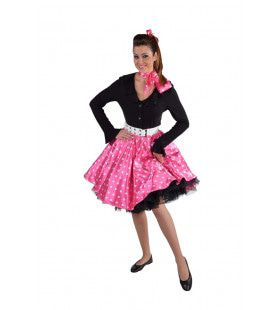 Jaren 50 Swing Rock Rok Roze Vrouw