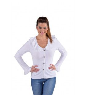 Jersey Blouse Brede Kraag Wit Vrouw
