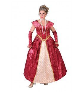 Luxe Hofdame Versailles Bordeaux Rood Vrouw Kostuum