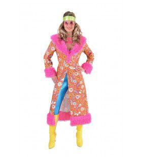 Roze Jaren 70 Paisley Bloemen Jas Met (Nep)bont Vrouw