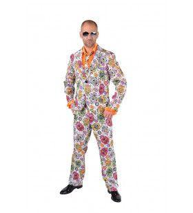 Vrolijke Kleurrijke Schedels Dia De Los Muertos Man Kostuum