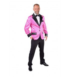 Glitter Colbert Casino Royal Roze Man